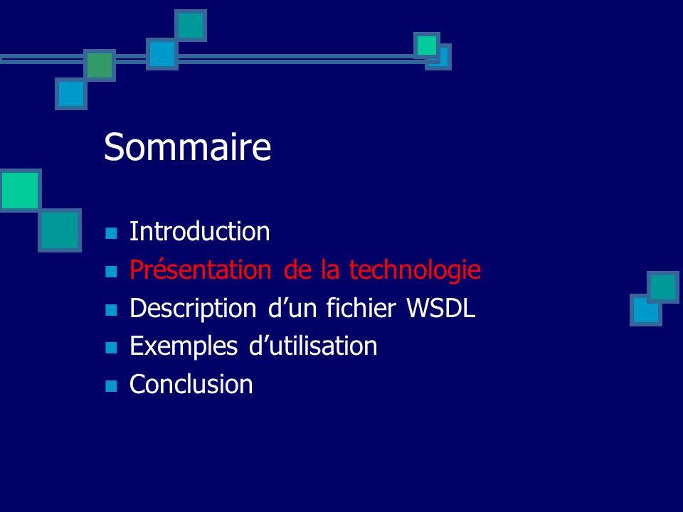 Sommaire Introduction Présentation de la technologie Description dun fichier WSDL Exemples dutilisation Conclusion