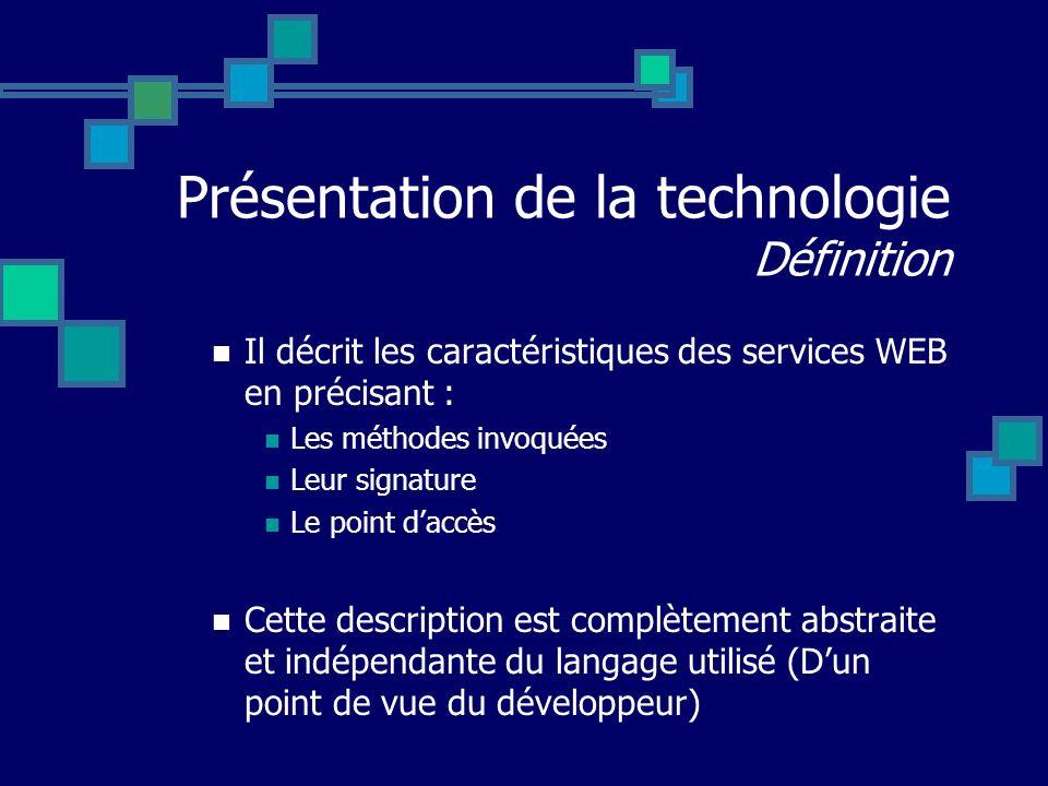 Présentation de la technologie Définition Il décrit les caractéristiques des services WEB en précisant : Les méthodes invoquées Leur signature Le poin