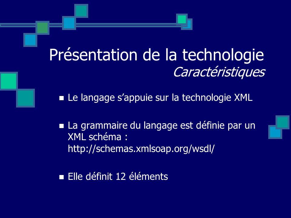 Présentation de la technologie Caractéristiques Le langage sappuie sur la technologie XML La grammaire du langage est définie par un XML schéma : http