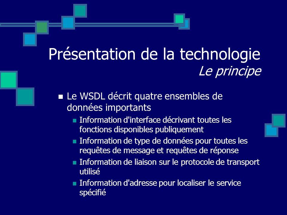 Présentation de la technologie Le principe Le WSDL décrit quatre ensembles de données importants Information d'interface décrivant toutes les fonction