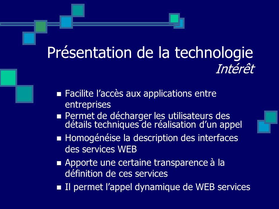 Présentation de la technologie Intérêt Facilite laccès aux applications entre entreprises Permet de décharger les utilisateurs des détails techniques