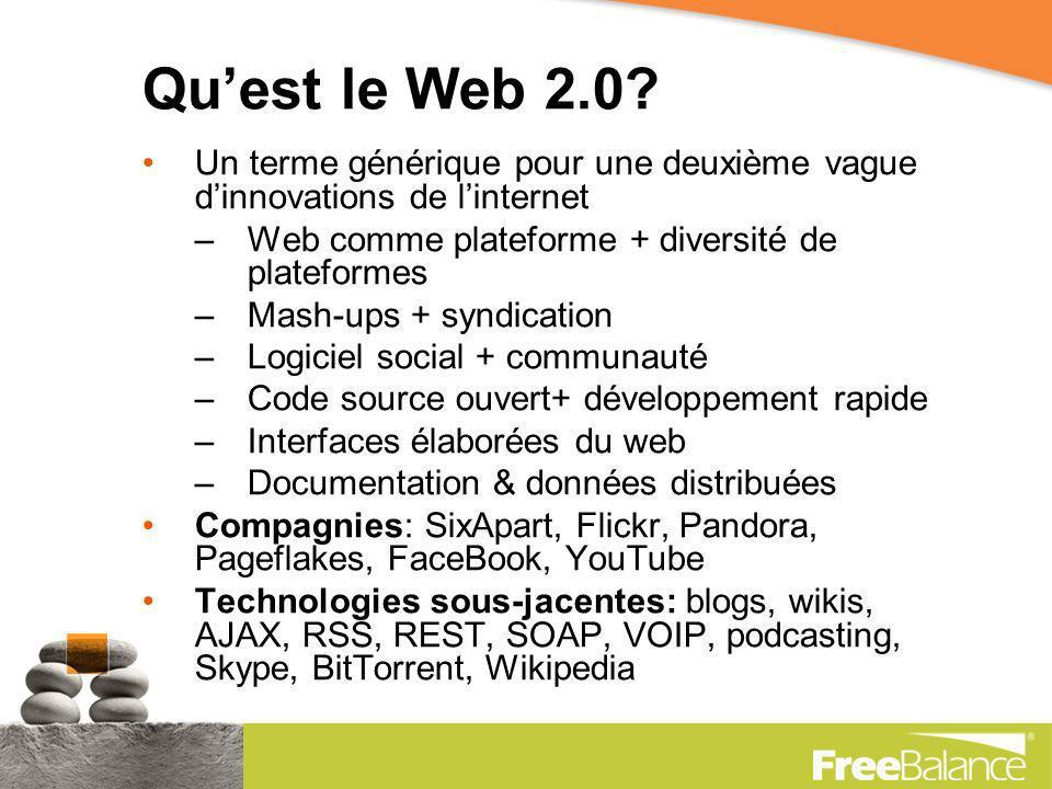 Le Web 2.0 est le réseau en tant que plateforme, couvrant tous les appareils connectés… créant des effets de réseau à travers une architecture de participation, Et allant au-delà de la métaphore de page du Web 1.0 pour transmettre des expériences enrichissantes aux utilisateurs.