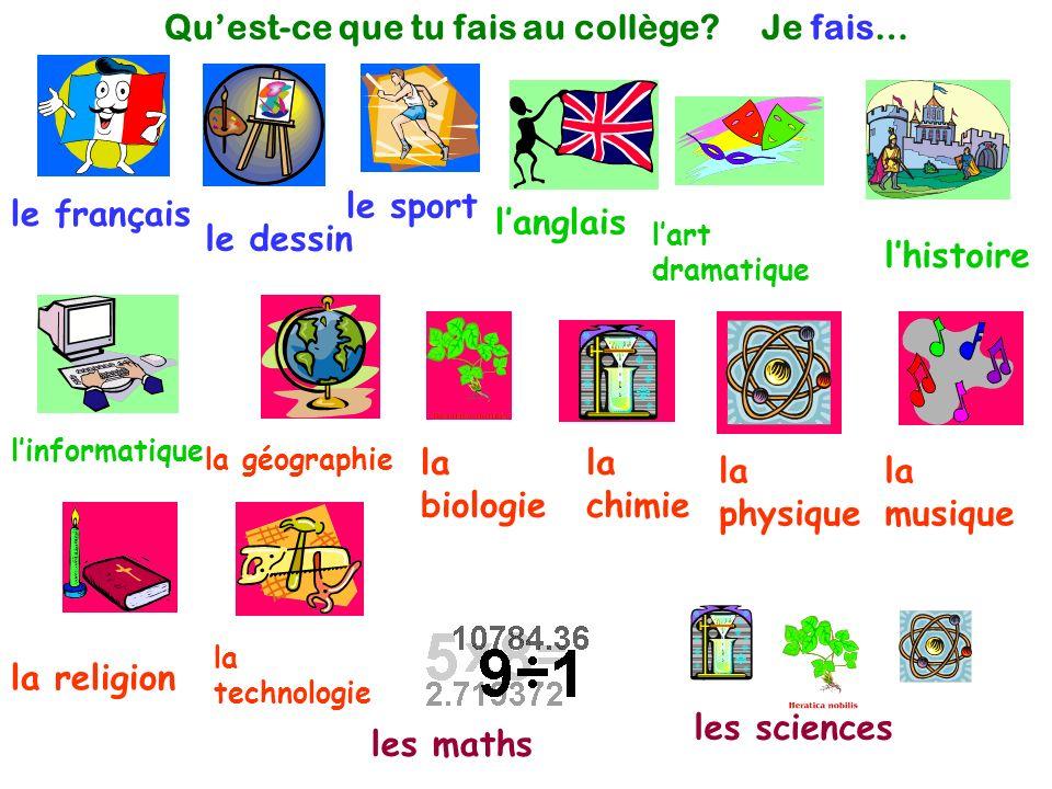le français le dessin le sport langlais linformatique lhistoire lart dramatique la chimie la musique la religion les maths les sciences la physique la