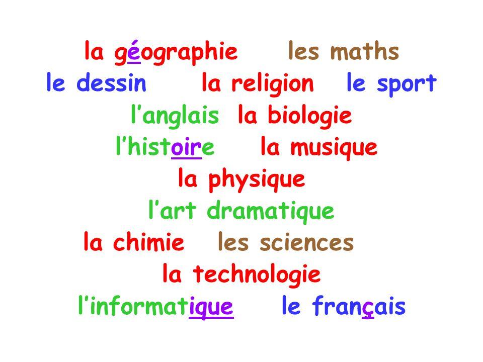la géographie les maths le dessin la religion le sport langlais la biologie lhistoire la musique la physique lart dramatique la chimie les sciences la