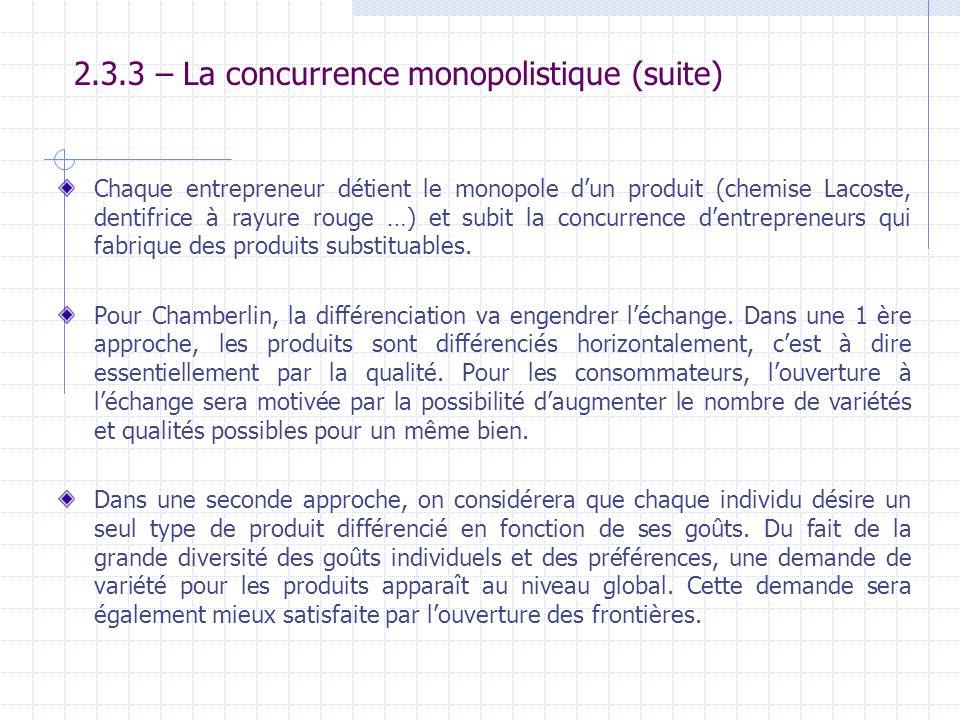 2.3.3 – La concurrence monopolistique (suite) Chaque entrepreneur détient le monopole dun produit (chemise Lacoste, dentifrice à rayure rouge …) et su