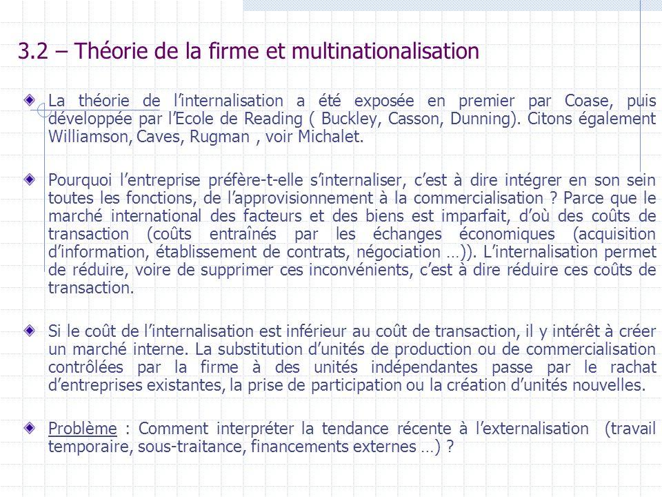 3.2 – Théorie de la firme et multinationalisation La théorie de linternalisation a été exposée en premier par Coase, puis développée par lEcole de Rea