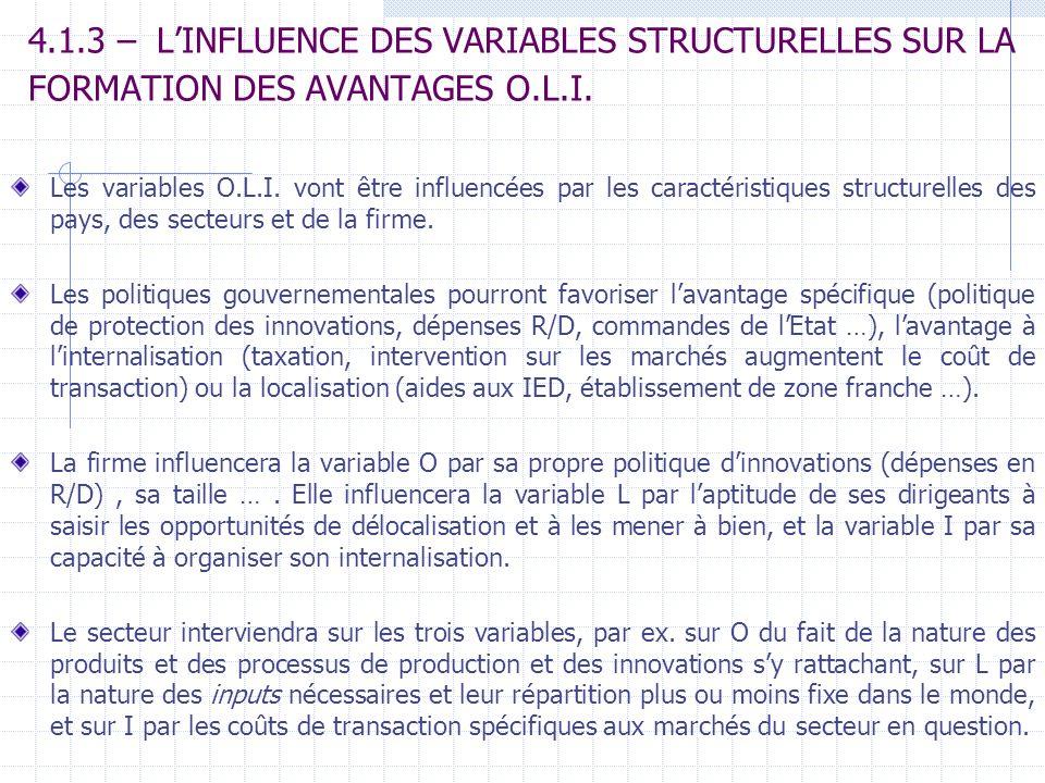 4.1.3 – LINFLUENCE DES VARIABLES STRUCTURELLES SUR LA FORMATION DES AVANTAGES O.L.I. Les variables O.L.I. vont être influencées par les caractéristiqu