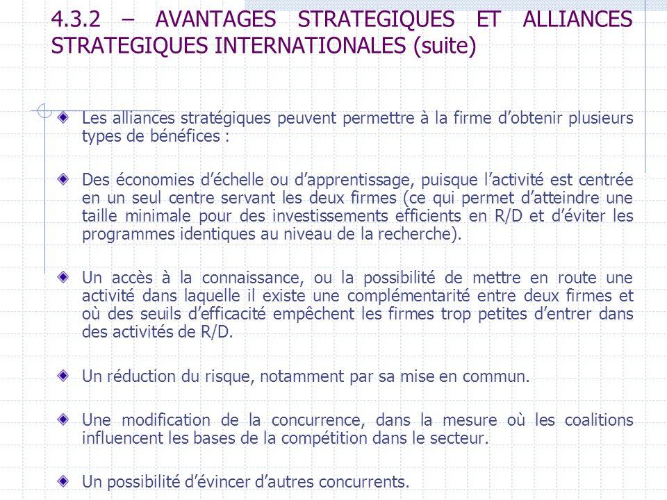 4.3.2 – AVANTAGES STRATEGIQUES ET ALLIANCES STRATEGIQUES INTERNATIONALES (suite) Les alliances stratégiques peuvent permettre à la firme dobtenir plus