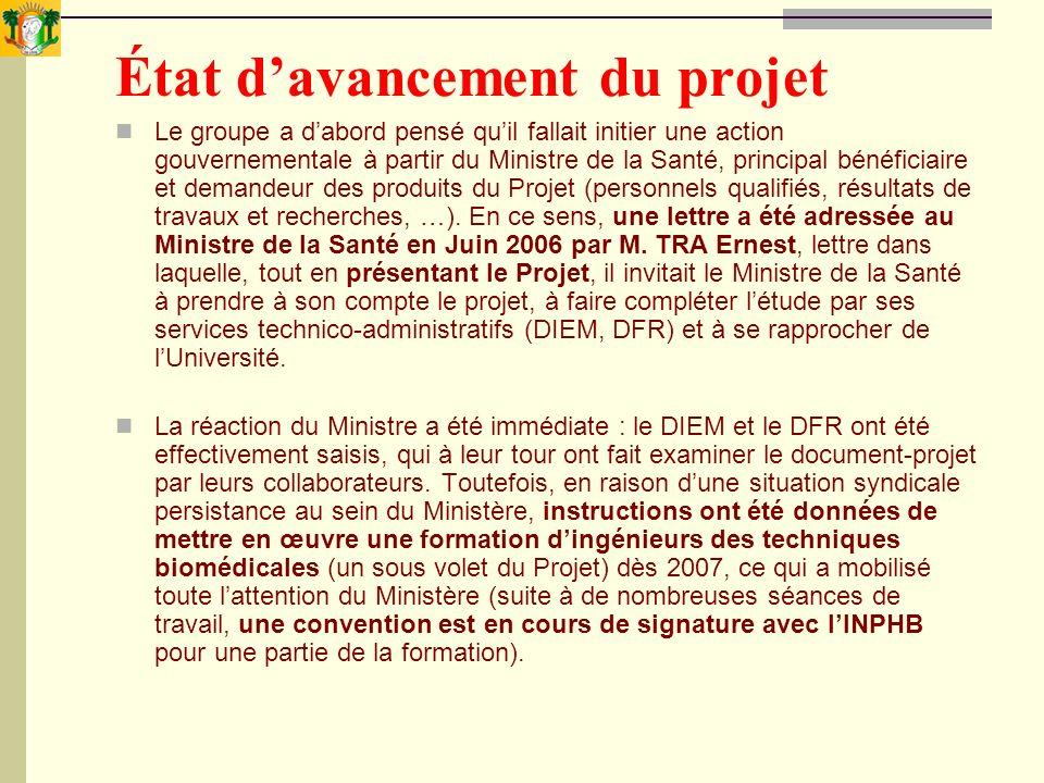 État davancement du projet Le groupe a dabord pensé quil fallait initier une action gouvernementale à partir du Ministre de la Santé, principal bénéfi