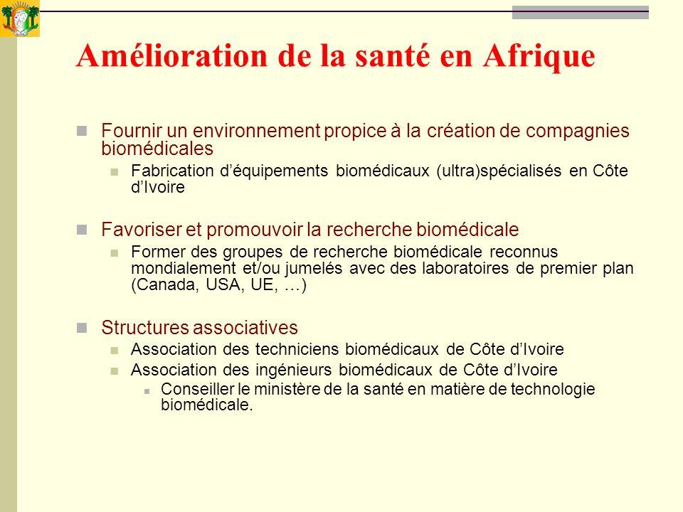 Amélioration de la santé en Afrique Fournir un environnement propice à la création de compagnies biomédicales Fabrication déquipements biomédicaux (ul