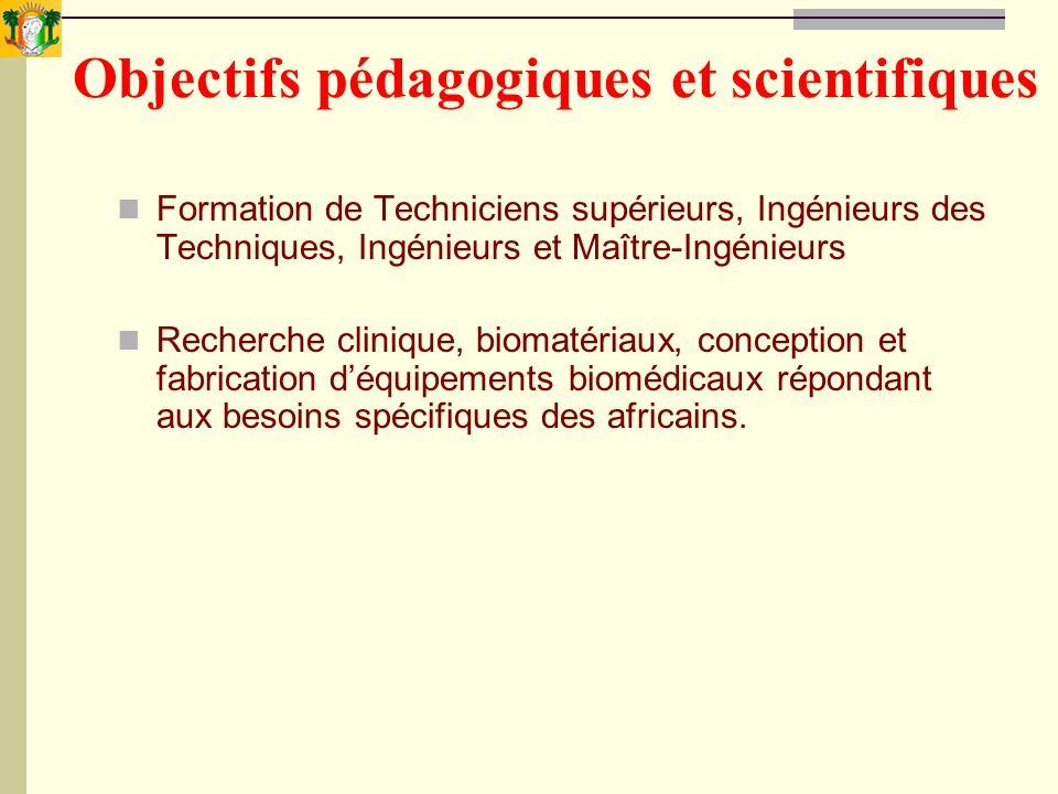 Objectifs pédagogiques et scientifiques Formation de Techniciens supérieurs, Ingénieurs des Techniques, Ingénieurs et Maître-Ingénieurs Recherche clin