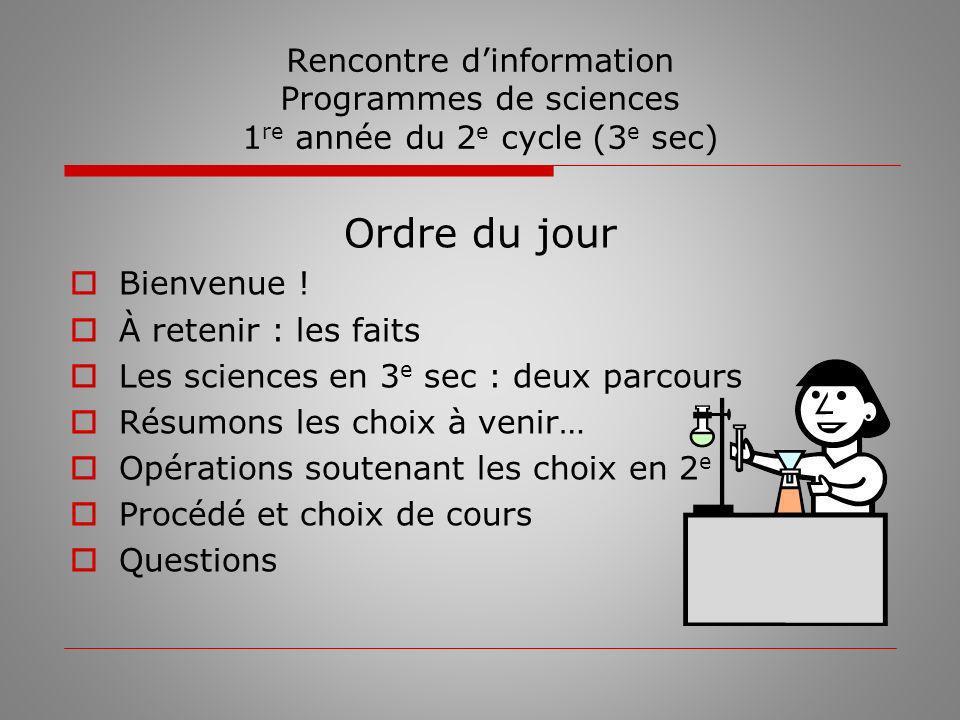 À retenir : les faits Au 2 e cycle du secondaire (3 e, 4 e et 5 e sec), les groupes délèves seront différents du 1 er cycle.