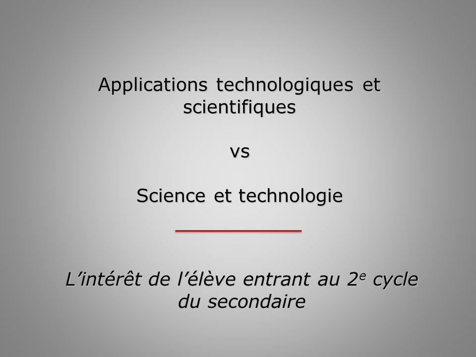 Applications technologiques et scientifiques vs Science et technologie Lintérêt de lélève entrant au 2 e cycle du secondaire