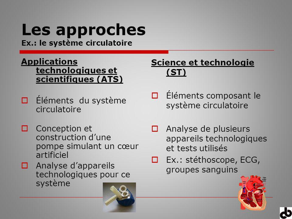 Les approches Ex.: le système circulatoire Applications technologiques et scientifiques (ATS) Éléments du système circulatoire Conception et construct