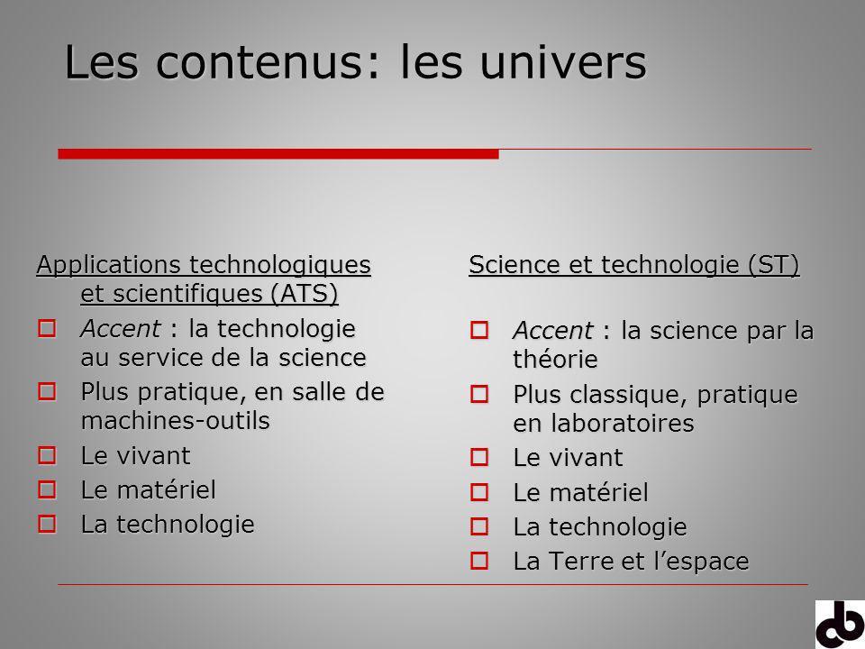 Les contenus: les univers Science et technologie (ST) Accent : la science par la théorie Accent : la science par la théorie Plus classique, pratique e
