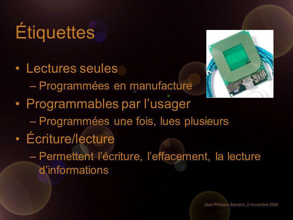 Jean-Philippe Samson, 2 novembre 2004 Étiquettes Lectures seules –Programmées en manufacture Programmables par lusager –Programmées une fois, lues plu