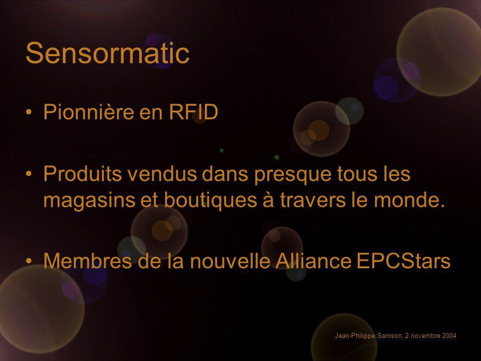 Jean-Philippe Samson, 2 novembre 2004 Sensormatic Pionnière en RFID Produits vendus dans presque tous les magasins et boutiques à travers le monde. Me