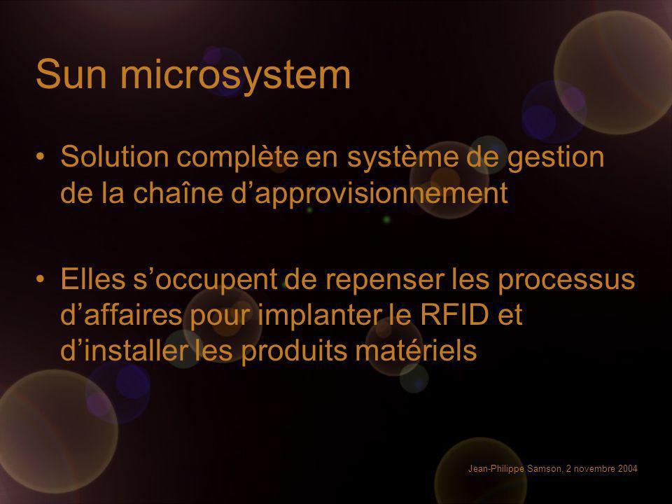 Jean-Philippe Samson, 2 novembre 2004 Sun microsystem Solution complète en système de gestion de la chaîne dapprovisionnement Elles soccupent de repen