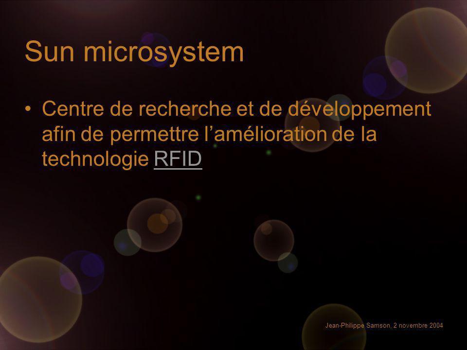 Jean-Philippe Samson, 2 novembre 2004 Sun microsystem Centre de recherche et de développement afin de permettre lamélioration de la technologie RFIDRF
