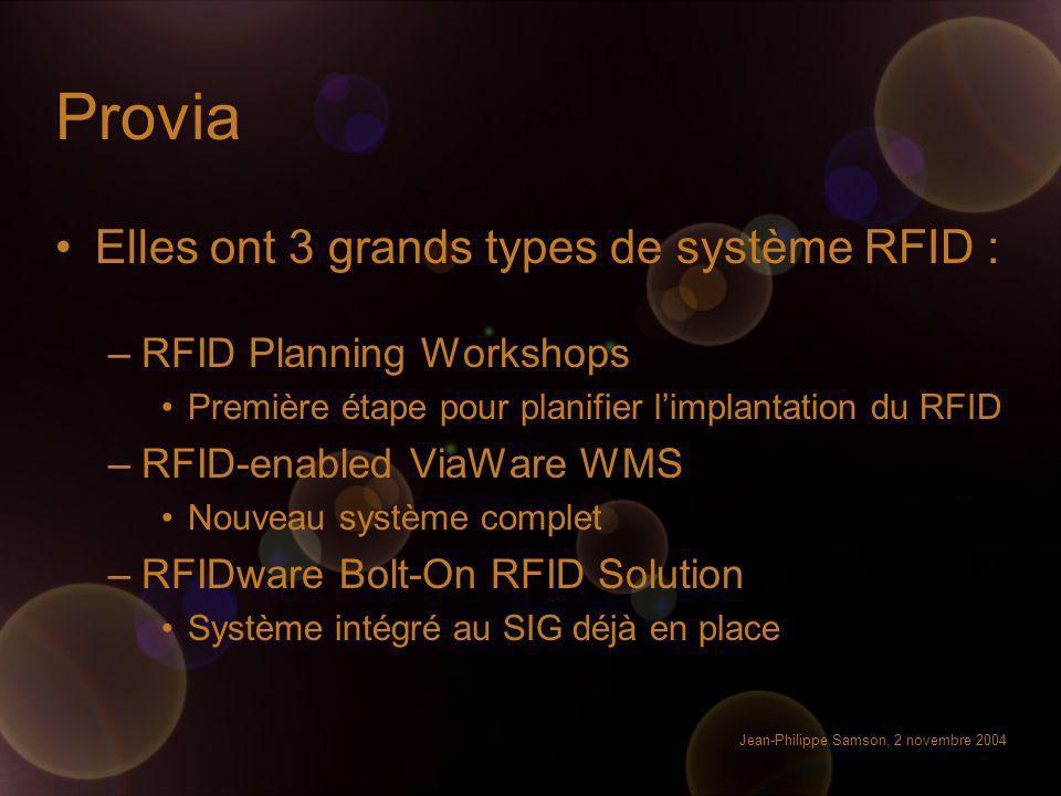 Jean-Philippe Samson, 2 novembre 2004 Provia Elles ont 3 grands types de système RFID : –RFID Planning Workshops Première étape pour planifier limplan