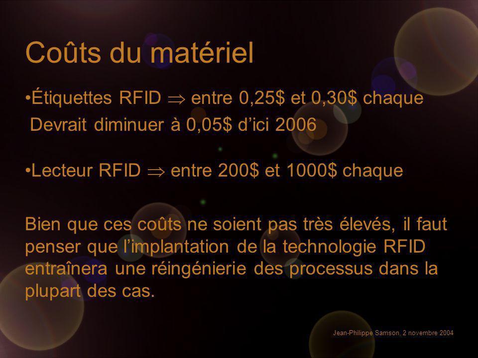 Jean-Philippe Samson, 2 novembre 2004 Coûts du matériel Étiquettes RFID entre 0,25$ et 0,30$ chaque Devrait diminuer à 0,05$ dici 2006 Lecteur RFID en