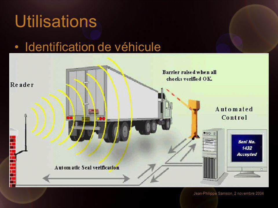 Jean-Philippe Samson, 2 novembre 2004 Utilisations Identification de véhicule