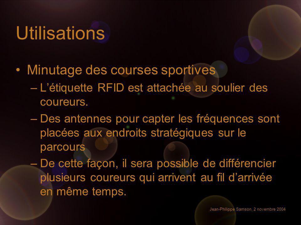 Jean-Philippe Samson, 2 novembre 2004 Utilisations Minutage des courses sportives –Létiquette RFID est attachée au soulier des coureurs. –Des antennes