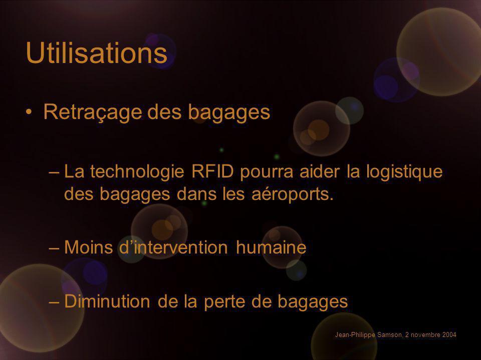 Jean-Philippe Samson, 2 novembre 2004 Utilisations Retraçage des bagages –La technologie RFID pourra aider la logistique des bagages dans les aéroport