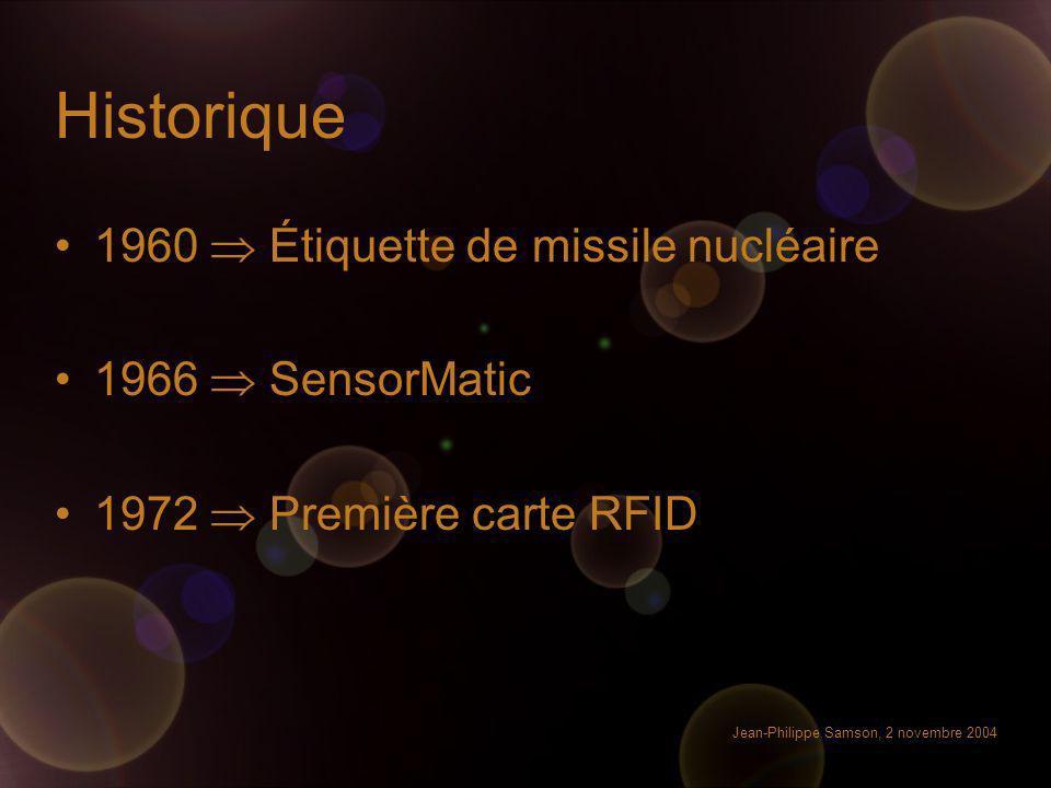 Jean-Philippe Samson, 2 novembre 2004 Historique 1960 Étiquette de missile nucléaire 1966 SensorMatic 1972 Première carte RFID