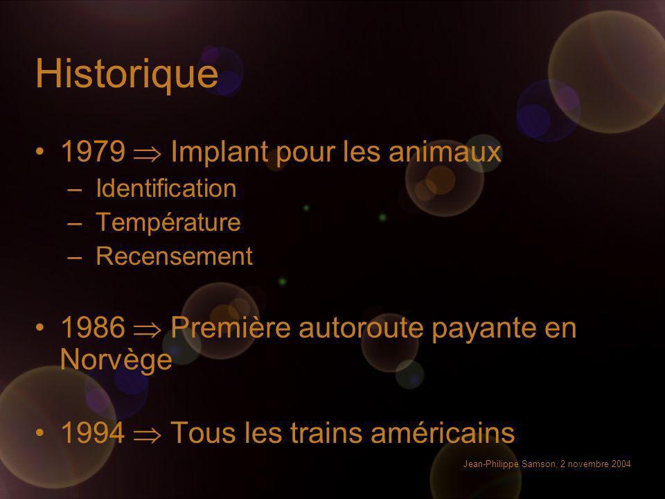 Jean-Philippe Samson, 2 novembre 2004 Historique 1979 Implant pour les animaux –Identification –Température –Recensement 1986 Première autoroute payan