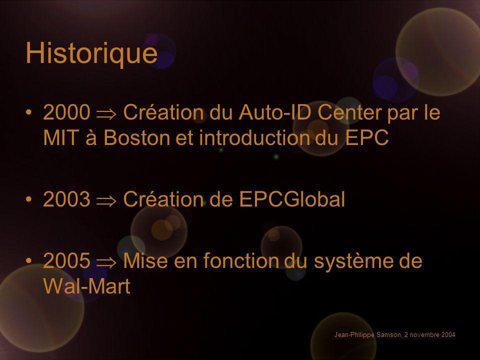 Jean-Philippe Samson, 2 novembre 2004 Historique 2000 Création du Auto-ID Center par le MIT à Boston et introduction du EPC 2003 Création de EPCGlobal