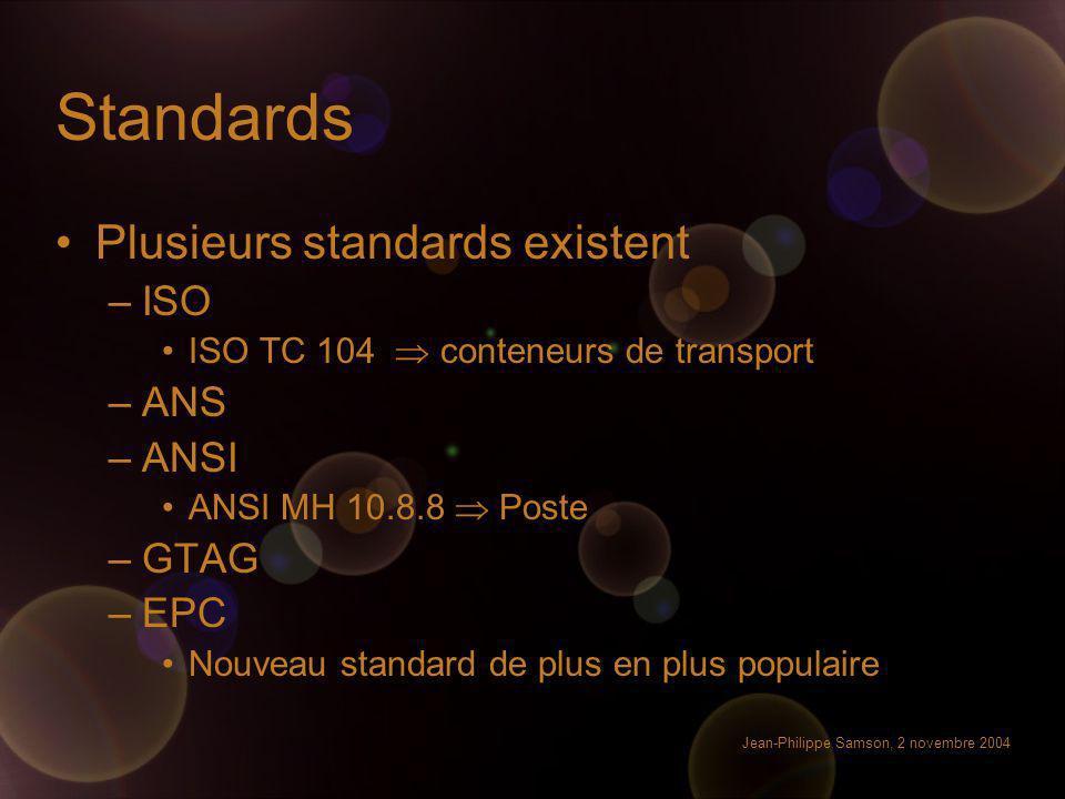 Jean-Philippe Samson, 2 novembre 2004 Standards Plusieurs standards existent –ISO ISO TC 104 conteneurs de transport –ANS –ANSI ANSI MH 10.8.8 Poste –