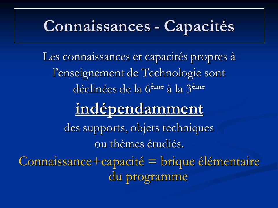 Connaissances - Capacités Les connaissances et capacités propres à lenseignement de Technologie sont déclinées de la 6 ème à la 3 ème indépendamment d