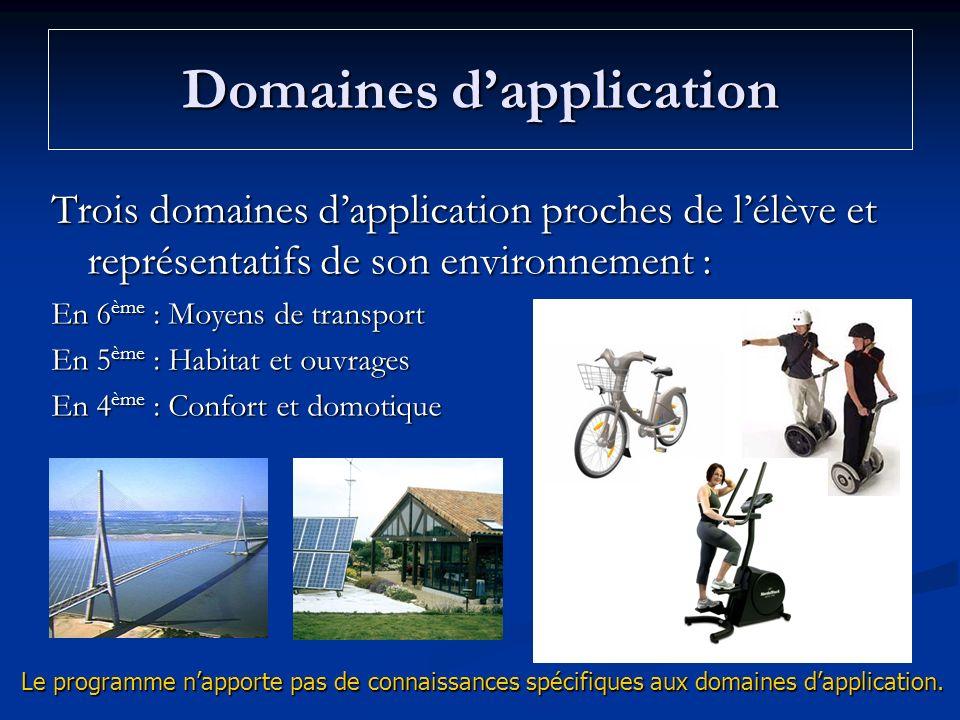 Domaines dapplication Trois domaines dapplication proches de lélève et représentatifs de son environnement : En 6 ème : Moyens de transport En 5 ème :