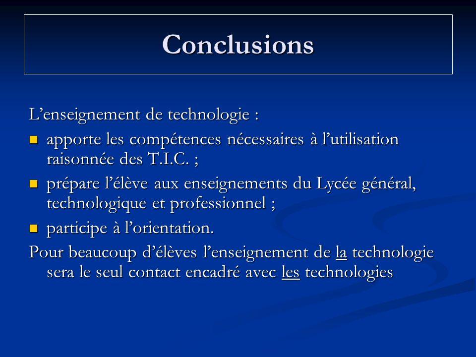 Conclusions Lenseignement de technologie : apporte les compétences nécessaires à lutilisation raisonnée des T.I.C. ; apporte les compétences nécessair