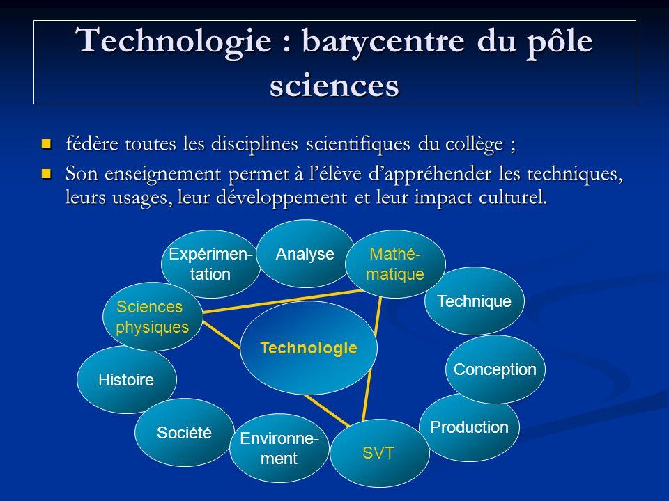 Technologie : barycentre du pôle sciences fédère toutes les disciplines scientifiques du collège ; fédère toutes les disciplines scientifiques du coll