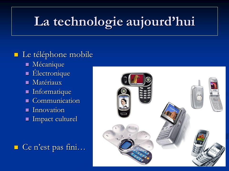 La technologie aujourdhui Le téléphone mobile Le téléphone mobile Mécanique Mécanique Électronique Électronique Matériaux Matériaux Informatique Infor