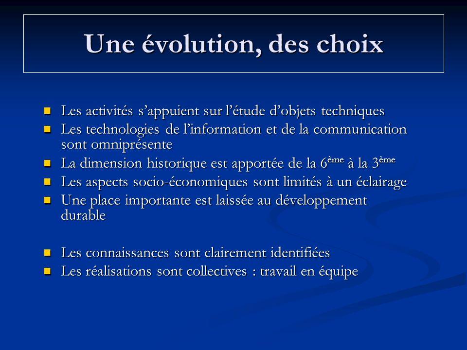 Une évolution, des choix Les activités sappuient sur létude dobjets techniques Les activités sappuient sur létude dobjets techniques Les technologies
