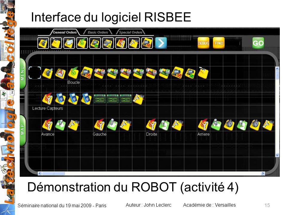 La technologie au collège Auteur : John LeclercAcadémie de : Versailles Séminaire national du 19 mai 2009 - Paris Interface du logiciel RISBEE Démonst