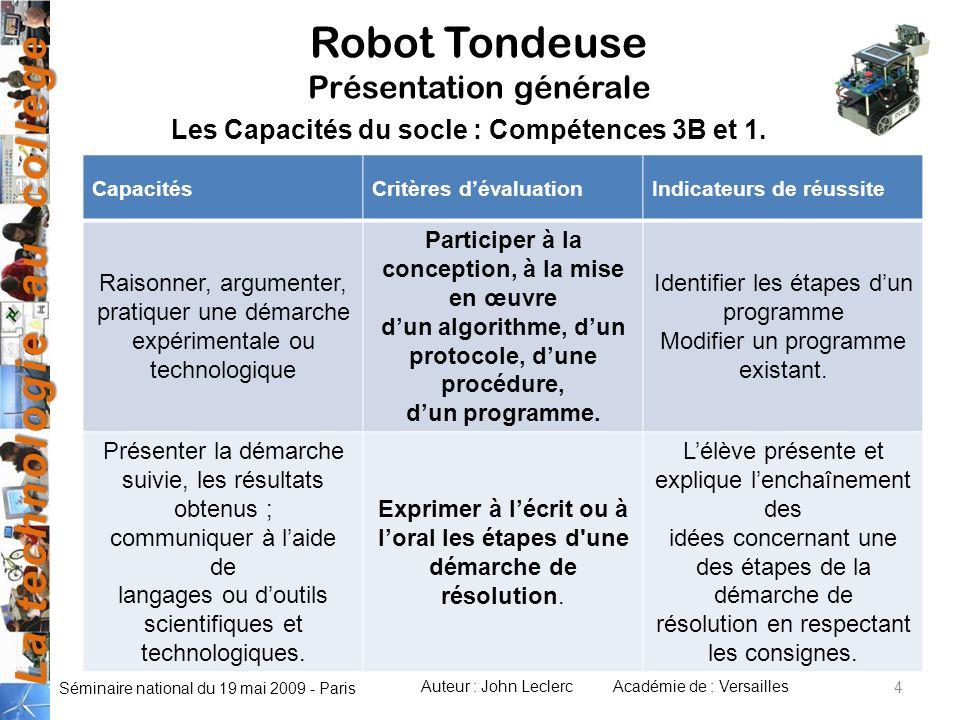 La technologie au collège Auteur : John LeclercAcadémie de : Versailles Séminaire national du 19 mai 2009 - Paris CapacitésCritères dévaluationIndicat