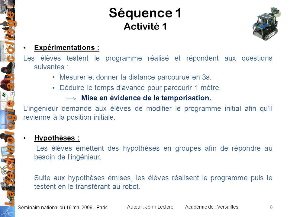 La technologie au collège Auteur : John LeclercAcadémie de : Versailles Séminaire national du 19 mai 2009 - Paris 8 Séquence 1 Activité 1 Expérimentat