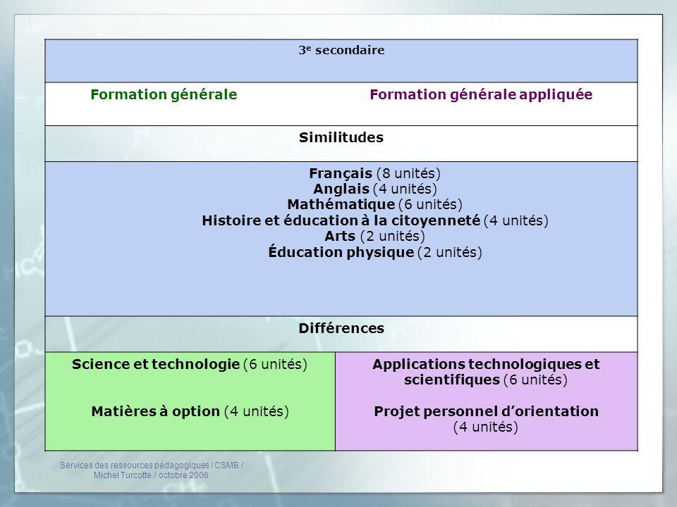 3 e secondaire Formation générale Formation générale appliquée Similitudes Français (8 unités) Anglais (4 unités) Mathématique (6 unités) Histoire et