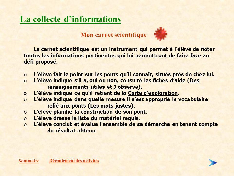 Sommaire La collecte dinformations Mon carnet scientifique Le carnet scientifique est un instrument qui permet à lélève de noter toutes les informations pertinentes qui lui permettront de faire face au défi proposé.