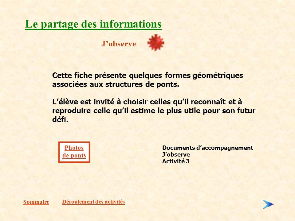 Sommaire Le partage des informations Jobserve Déroulement des activités Cette fiche présente quelques formes géométriques associées aux structures de ponts.