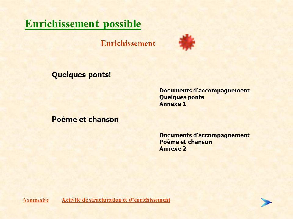 Sommaire Enrichissement possible Enrichissement Activité de structuration et denrichissement Quelques ponts.