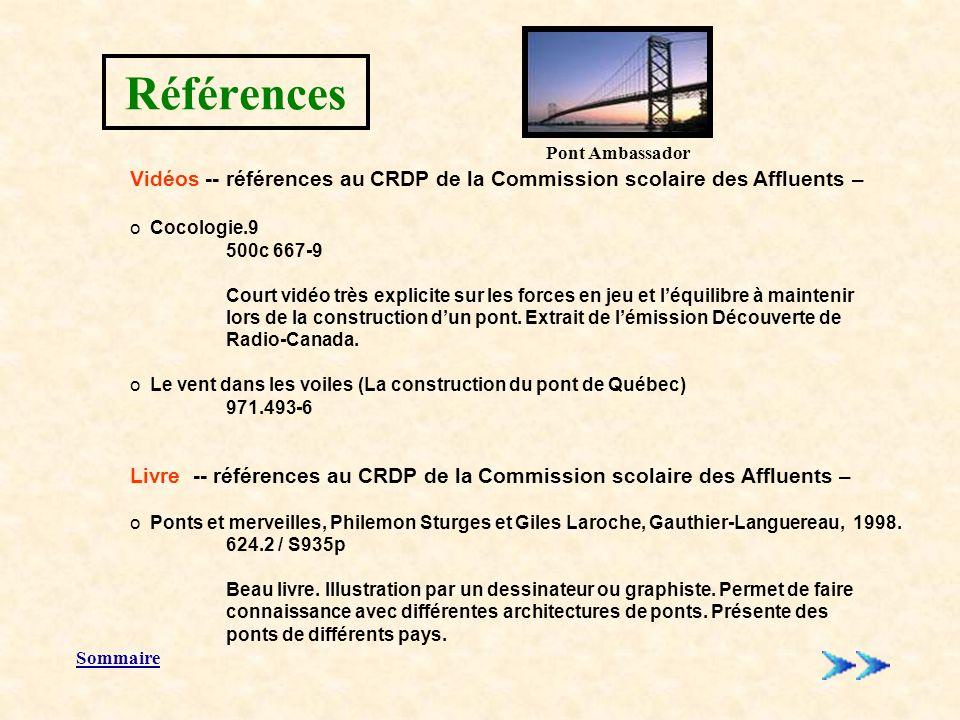 Références Sommaire Vidéos -- références au CRDP de la Commission scolaire des Affluents – o Cocologie.9 500c 667-9 Court vidéo très explicite sur les forces en jeu et léquilibre à maintenir lors de la construction dun pont.