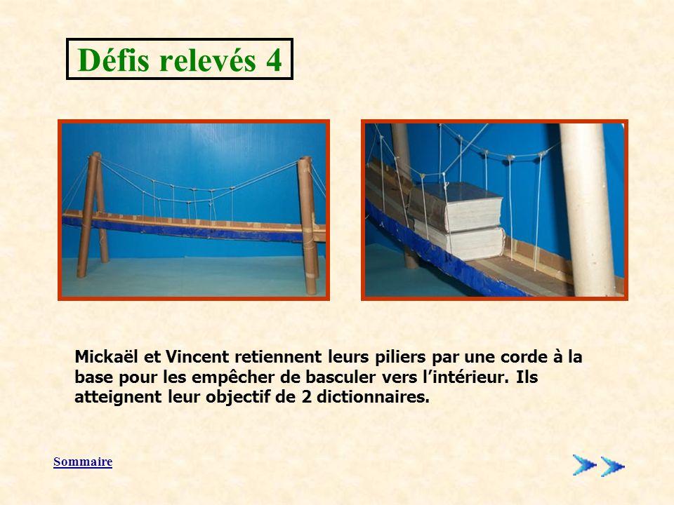 Sommaire Mickaël et Vincent retiennent leurs piliers par une corde à la base pour les empêcher de basculer vers lintérieur.