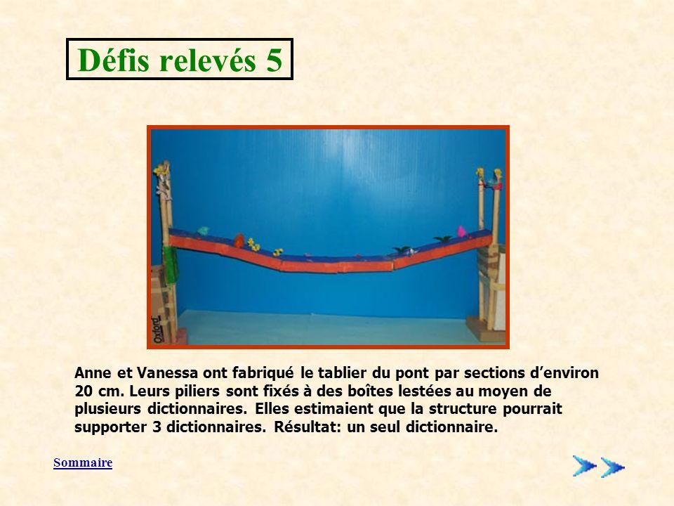 Sommaire Anne et Vanessa ont fabriqué le tablier du pont par sections denviron 20 cm.