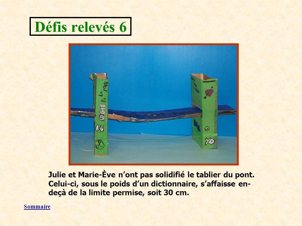 Sommaire Julie et Marie-Ève nont pas solidifié le tablier du pont.