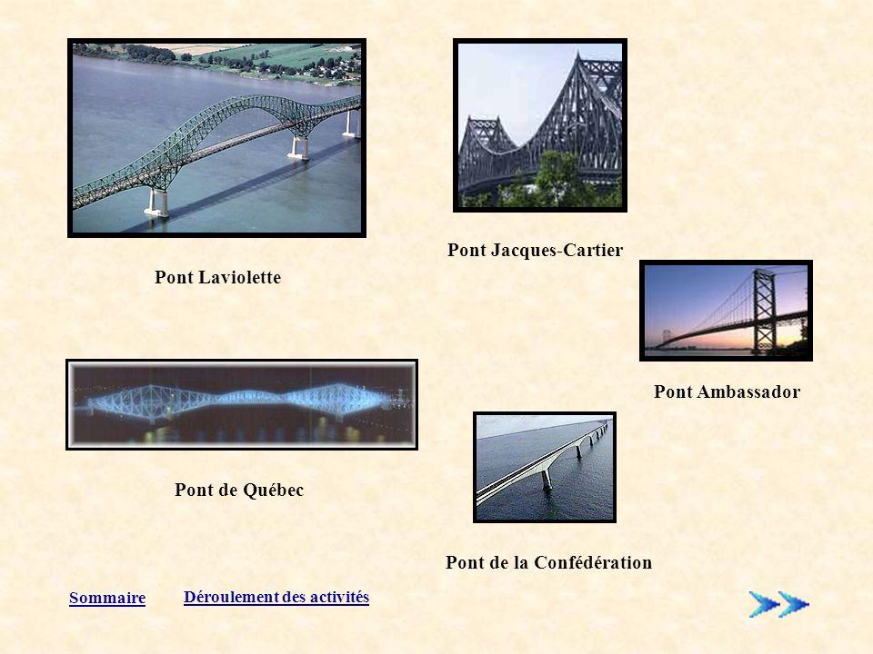 Pont Laviolette Pont Ambassador Pont de la Confédération Pont Jacques-Cartier Pont de Québec Sommaire Déroulement des activités